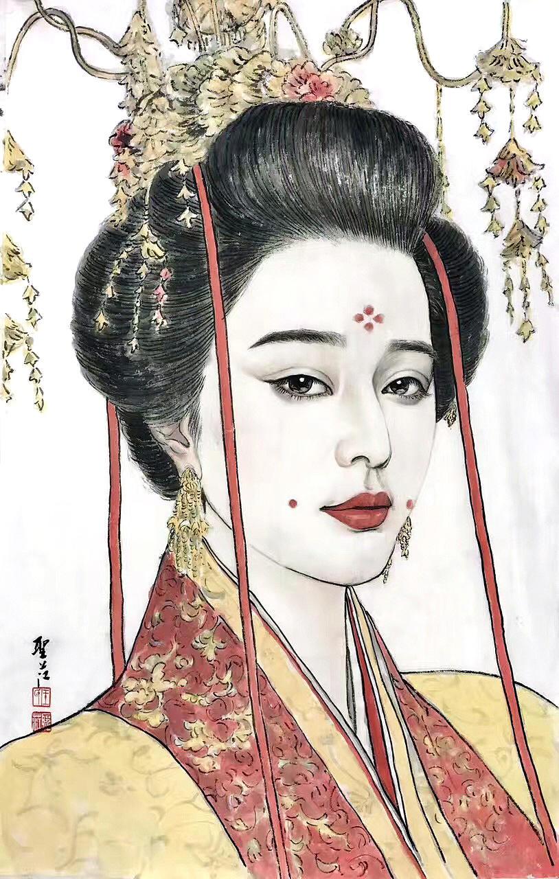 《肖像画》纸本设色 人物 (3)