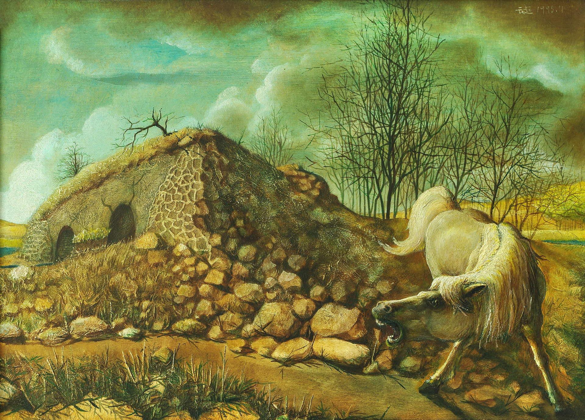 《小桥白马系列——春》33x46cm 油彩 胶合板 1993年