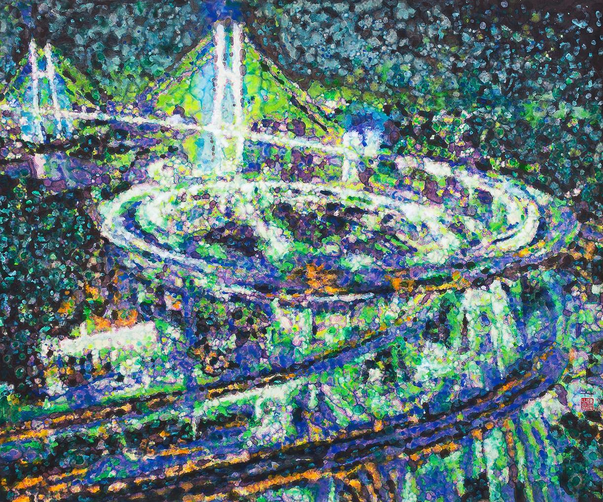 《倾城夜语NO7》100×120cm 宣纸 水墨 丙烯 2011年