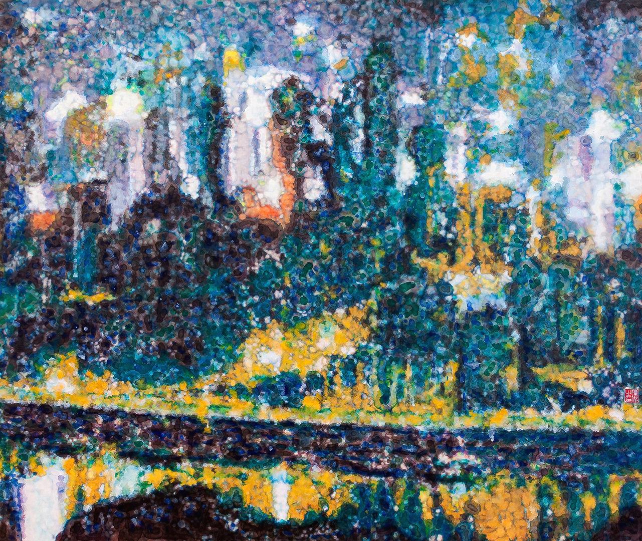 《倾城夜语NO6》100×120cm 宣纸 水墨 丙烯 2011年