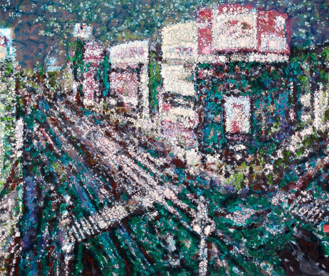 《倾城夜语NO4》100×120cm 宣纸 水墨 丙烯 2011年