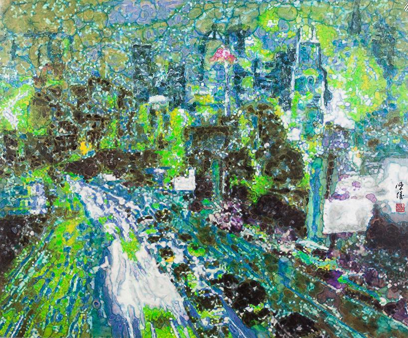 《倾城夜语NO2》100×120cm 宣纸 水墨 丙烯 2011年