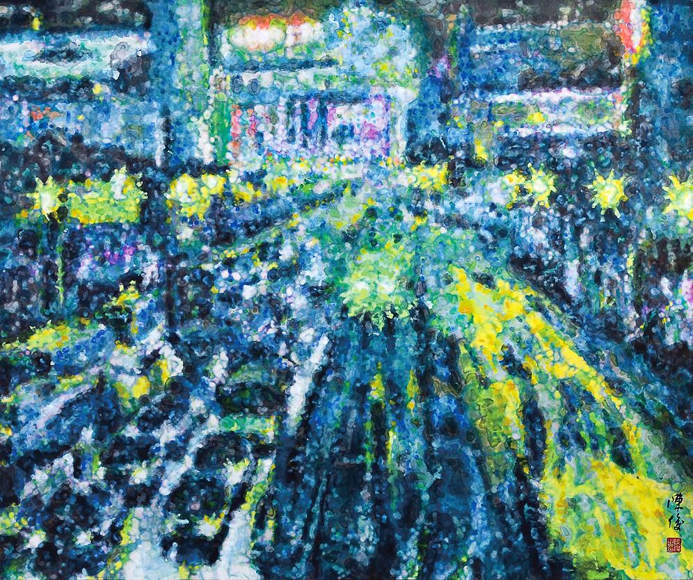 《倾城夜语NO1》100×120cm 宣纸 水墨 丙烯 2011年