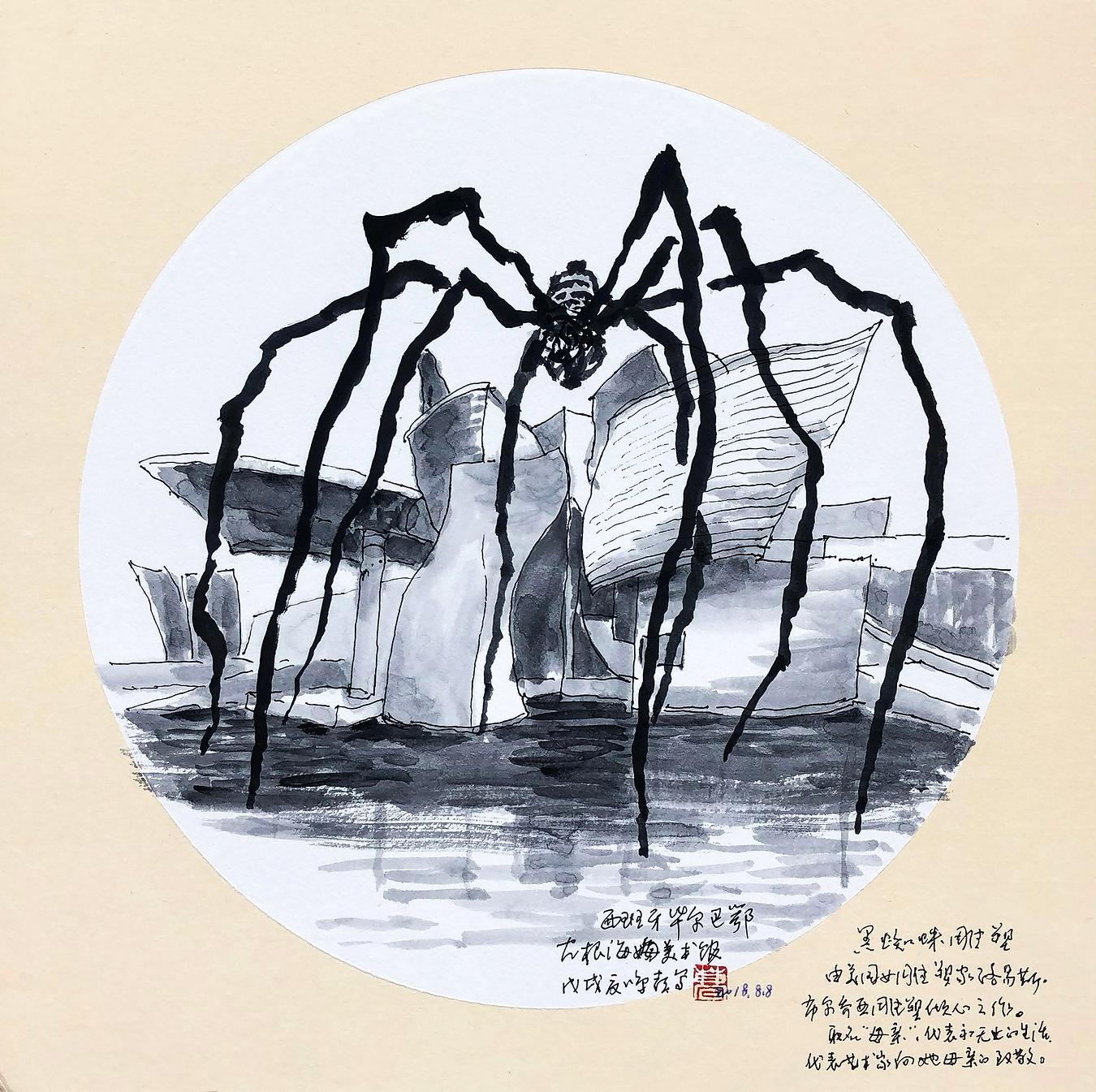 《西班牙·毕尔巴鄂·古根海姆美术馆》33×33cm 纸本水墨 团扇 写意欧洲风情 2018年08月08日