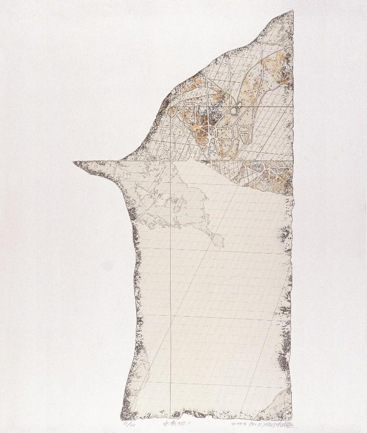 《水衣No.1》,絹版,98x53cm,2003