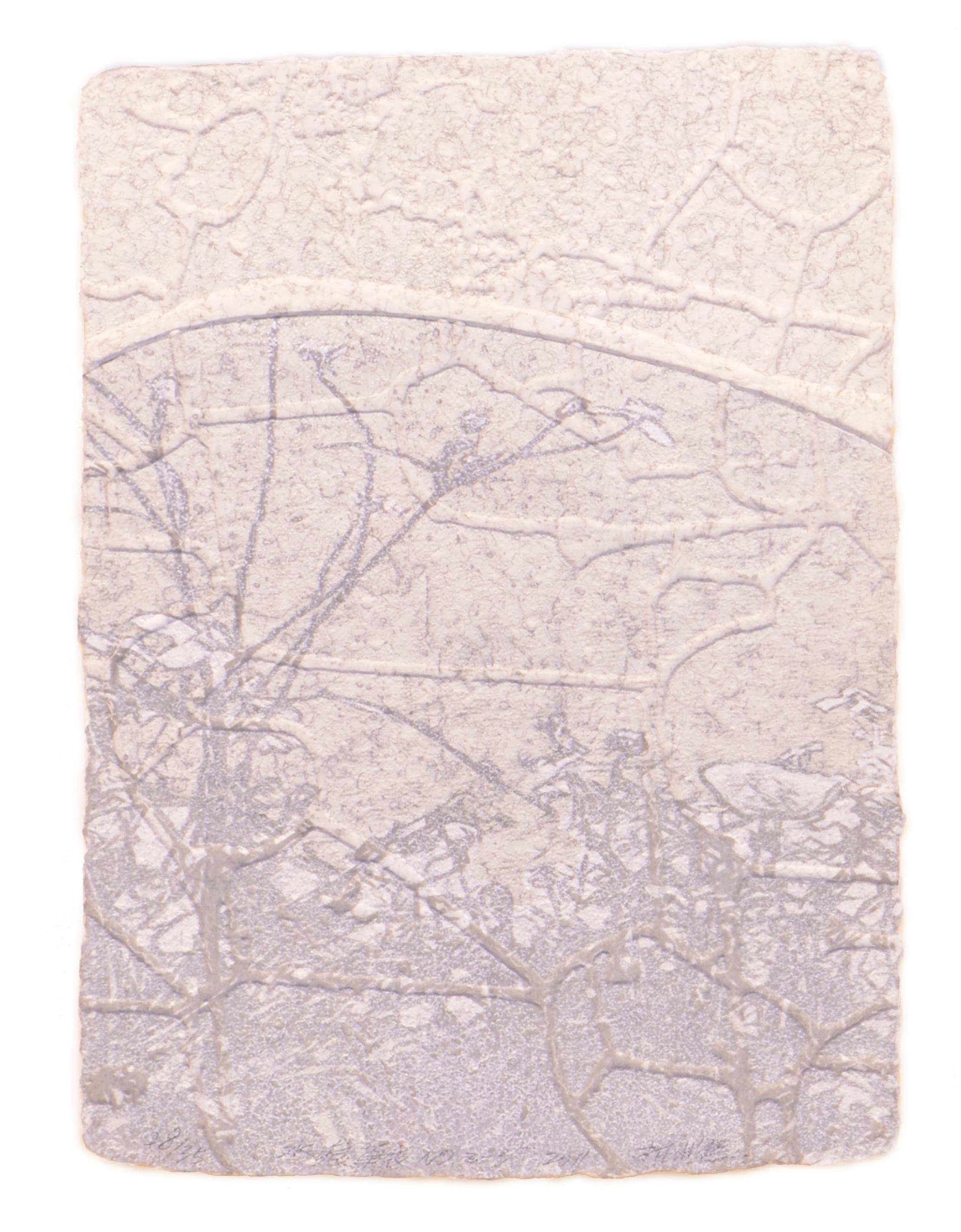 《水痕草衣No.2-3》,絹版、凹版,25×18cm,2011