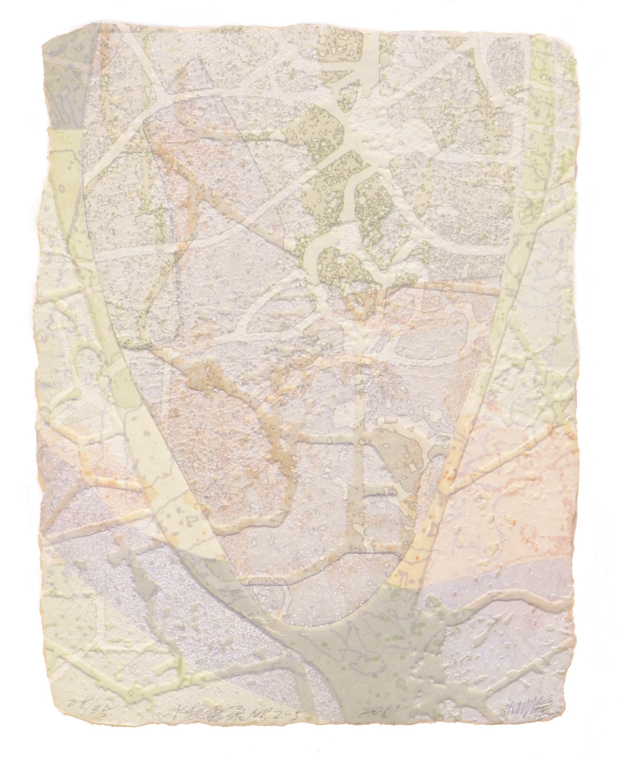 《水痕雲朵No.2-5》,絹版、凹版,25×18cm,2011
