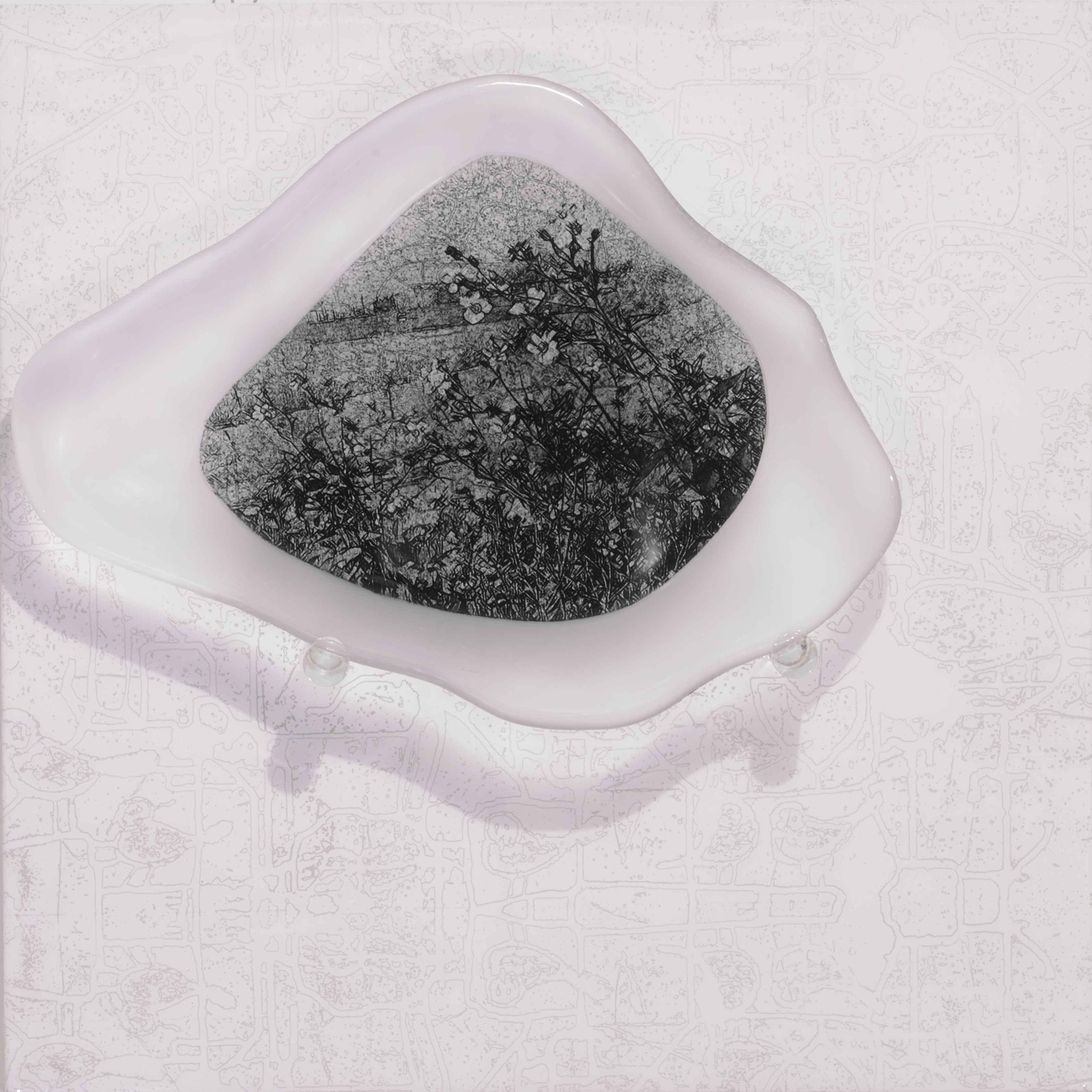 《水花園No.6》,玻璃、不鏽鋼,60×60×12cm,2015