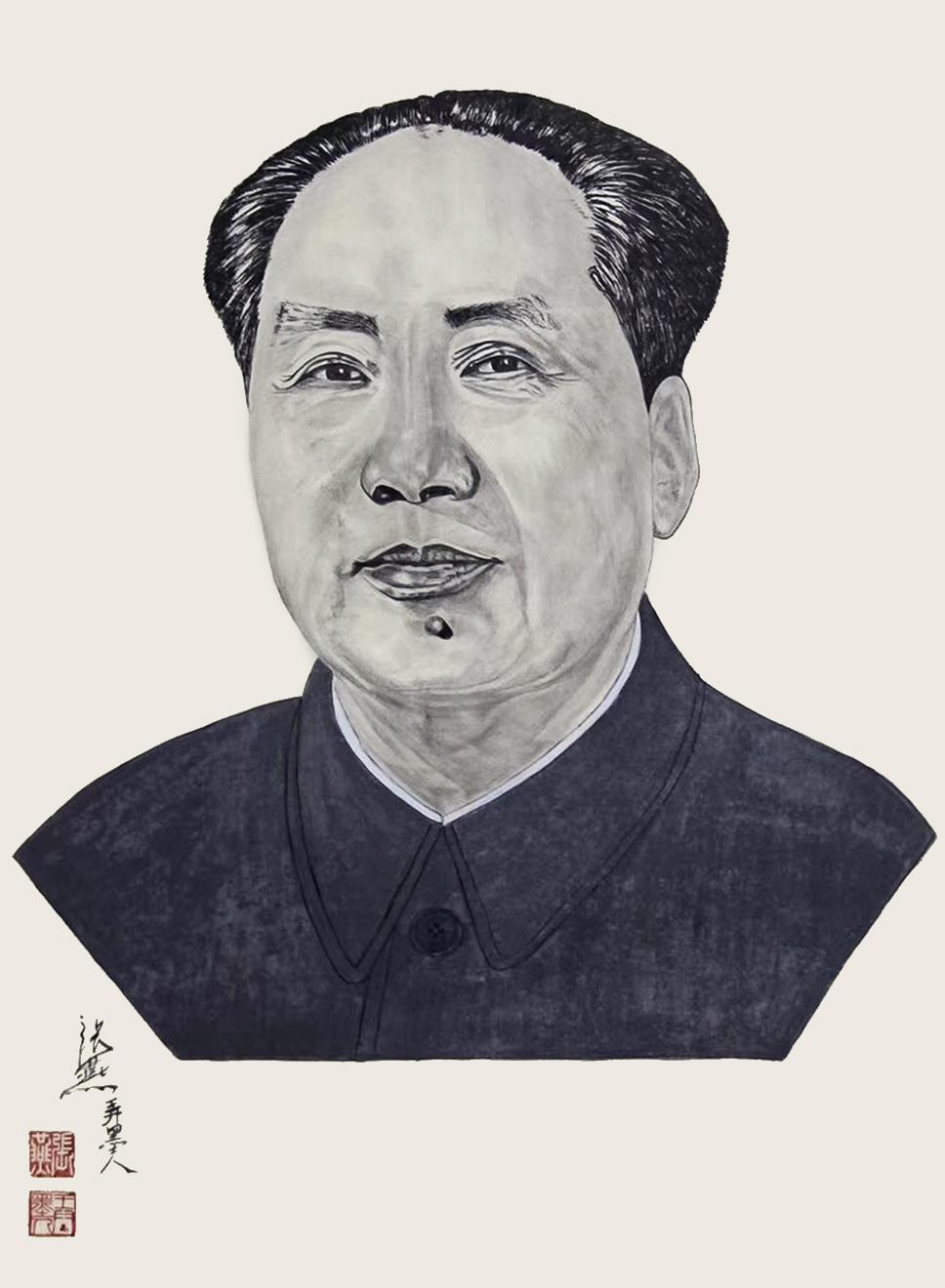 《毛泽东》100x55cm 三尺 纸本水墨 写意人物 2019年