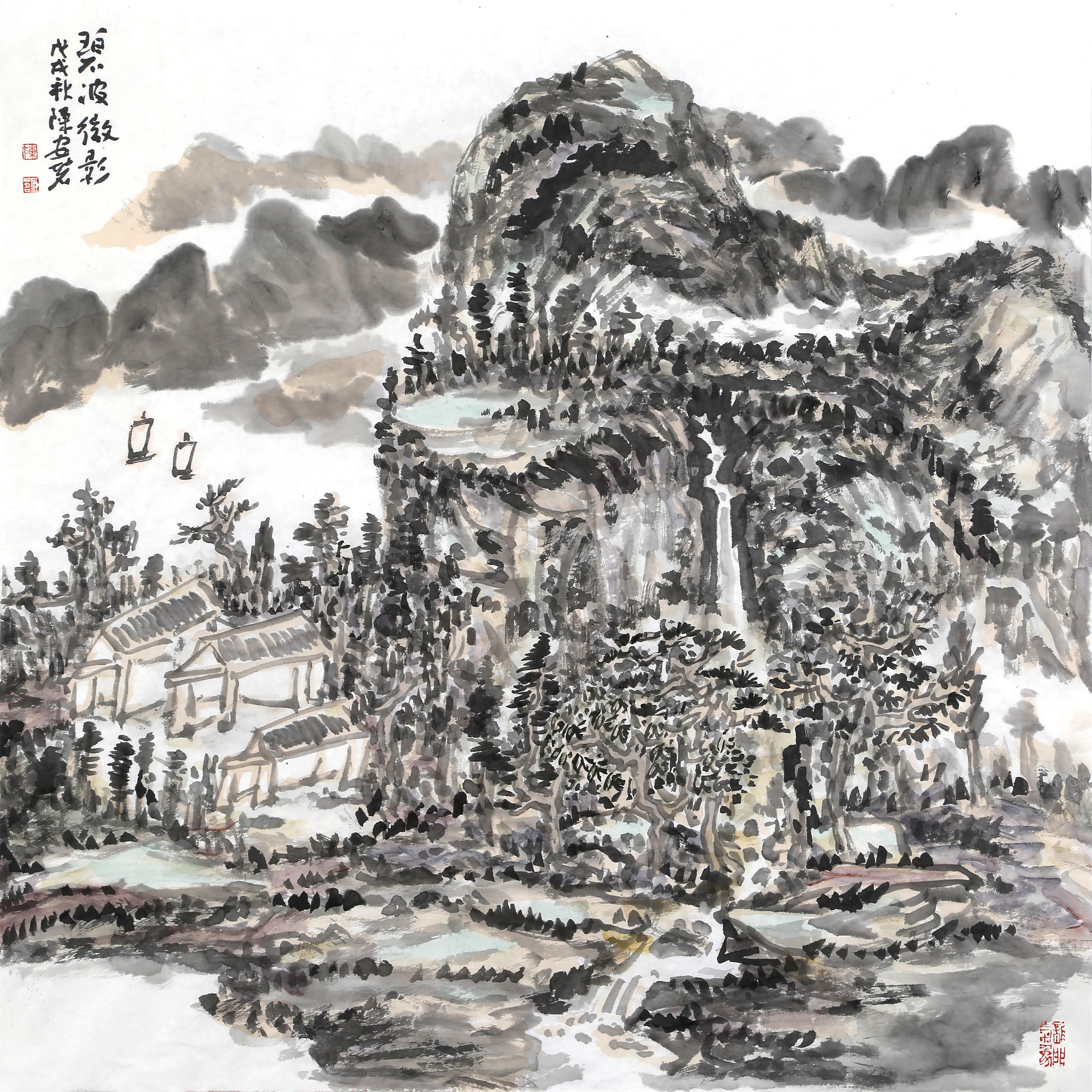 碧波微影(69x69cm)戊戌秋  陈安明2018年创作