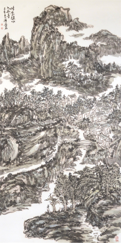 峰峦随水入丹青(138x69cm)己亥夏 陈安明2019年创作