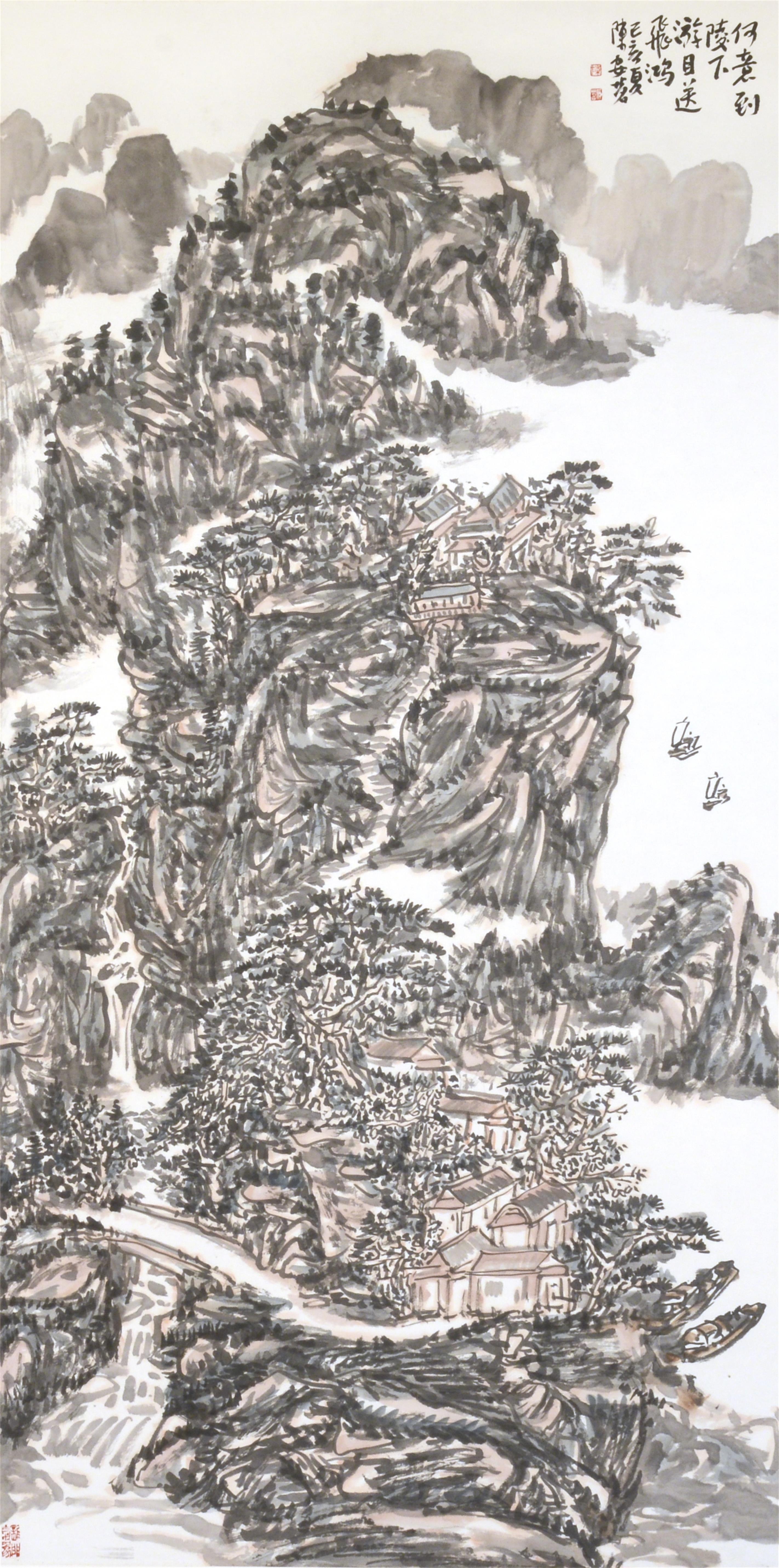 何意到陵下,游目送飞鸿(138x69cm)己亥夏 陈安明2019年创作