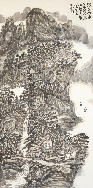 灵泉百道飞凉雨(138x69cm)己亥夏 陈安明2019年创作