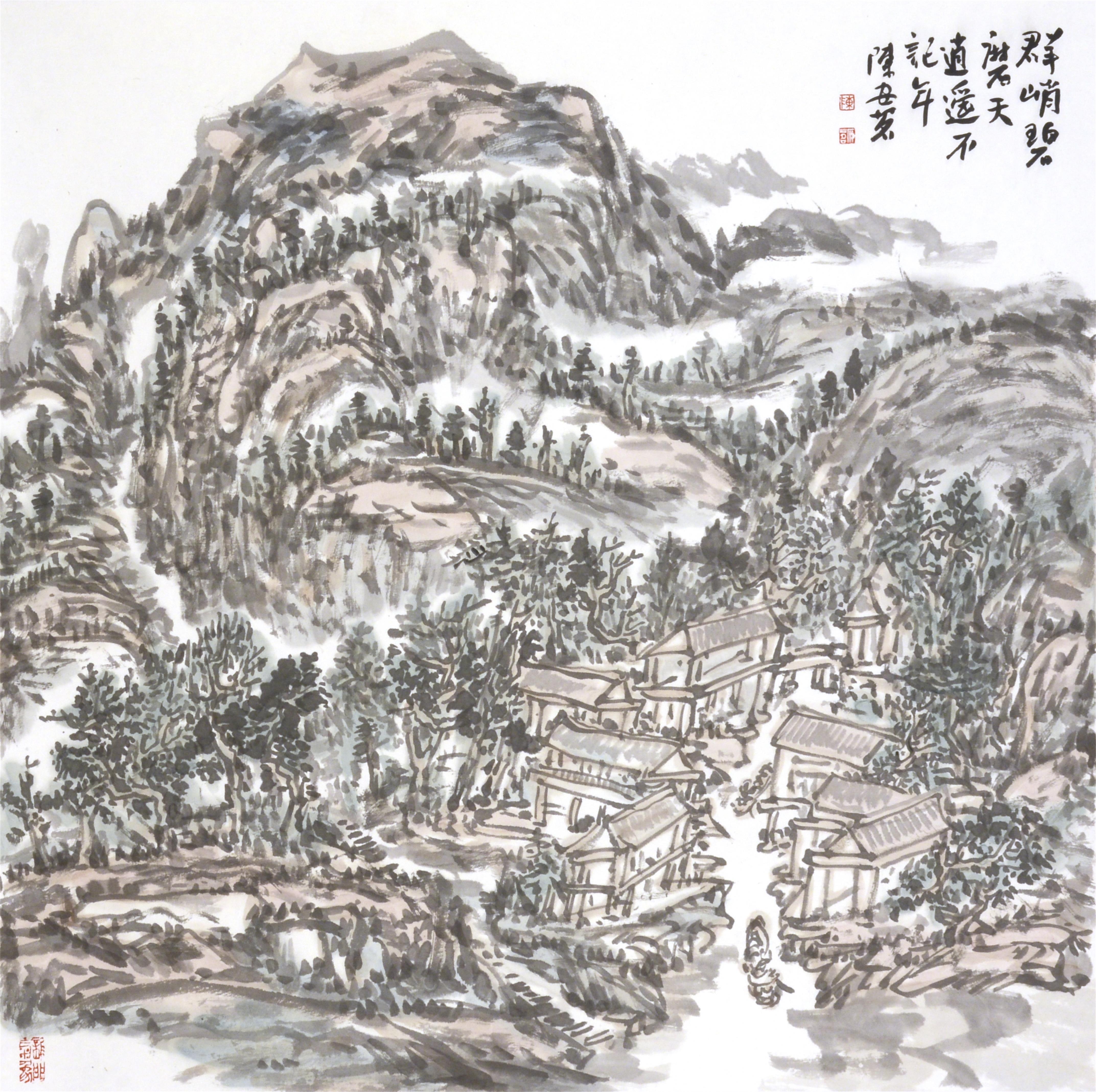 群峭碧摩天 逍遥不记年(69x69cm)陈安明2019年创作