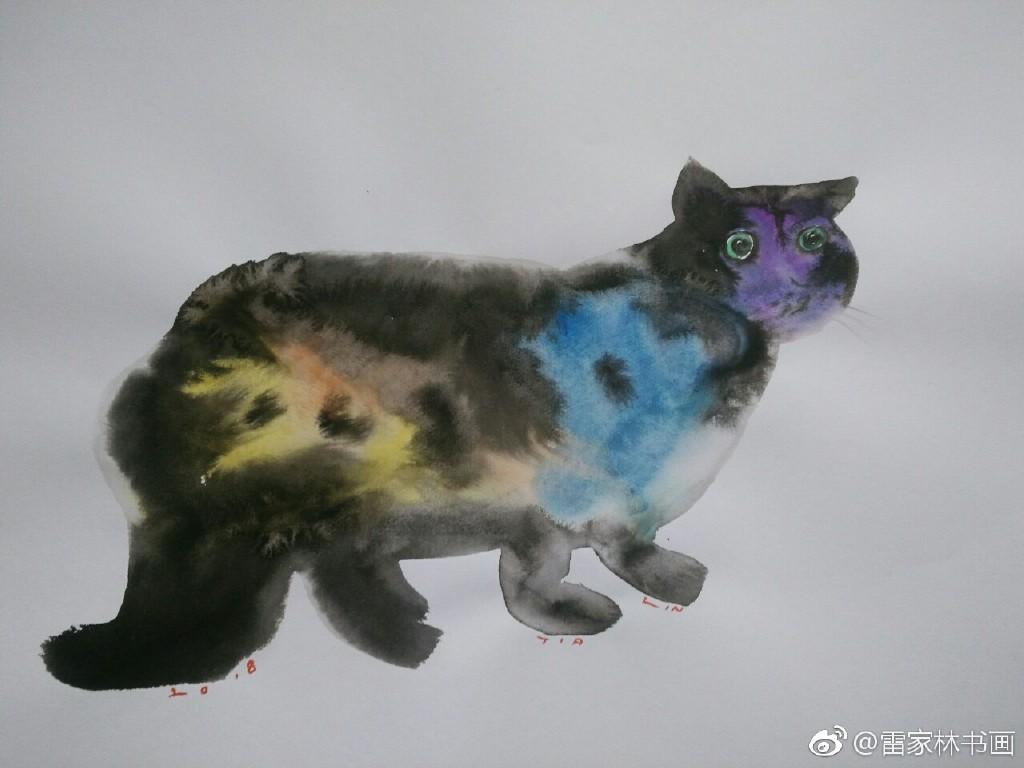 水彩 墨 动物画 喵 牛 猴