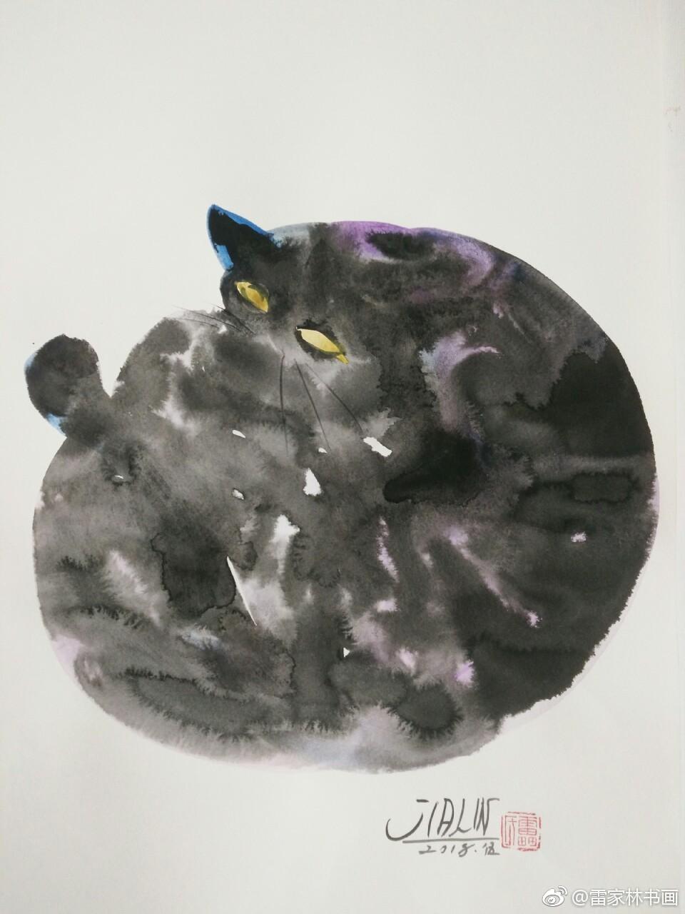 水彩墨绘狸猫