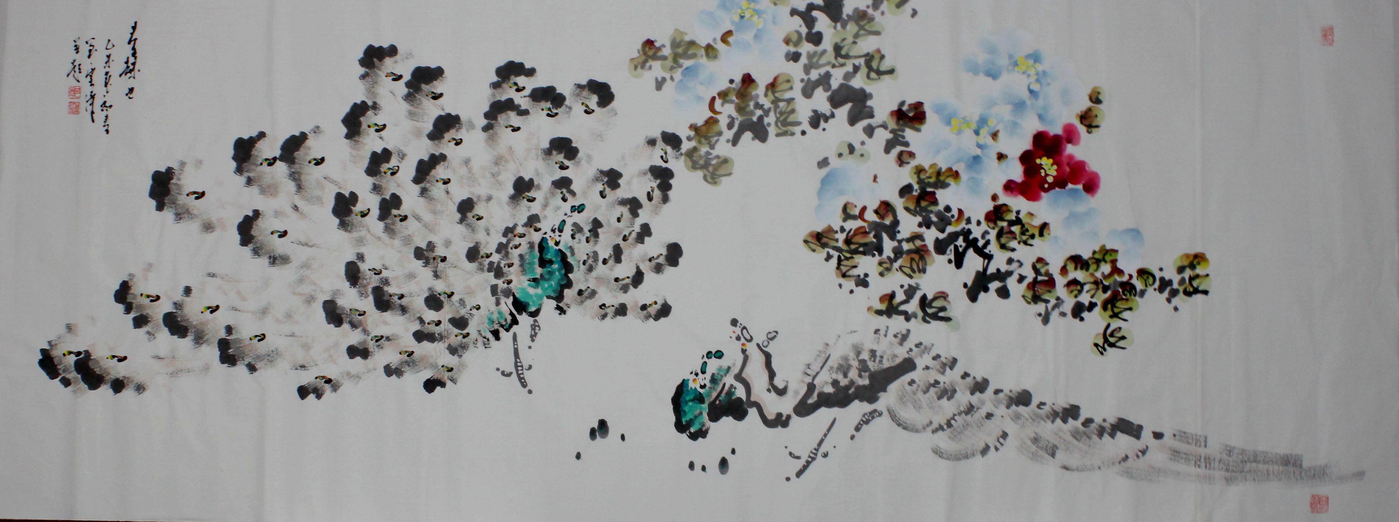 画家郑云涛孔雀画作品(规格:180cm*80cm)共赏