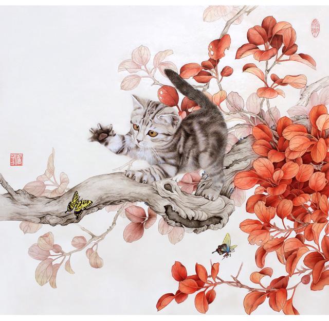 卢芳工笔画作品猫
