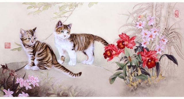卢芳工笔画作品猫咪